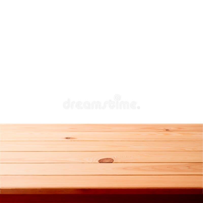Tabela de madeira vazia no fundo branco fotos de stock