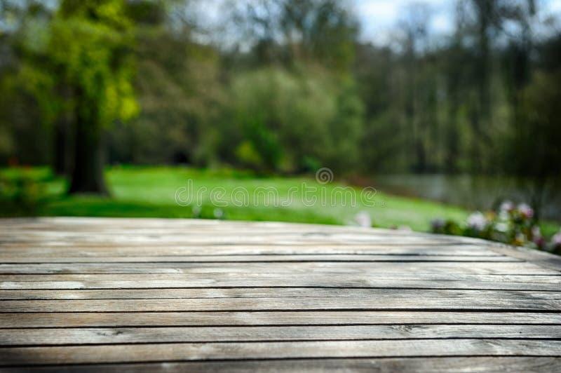 Tabela de madeira vazia no jardim da mola fotos de stock royalty free
