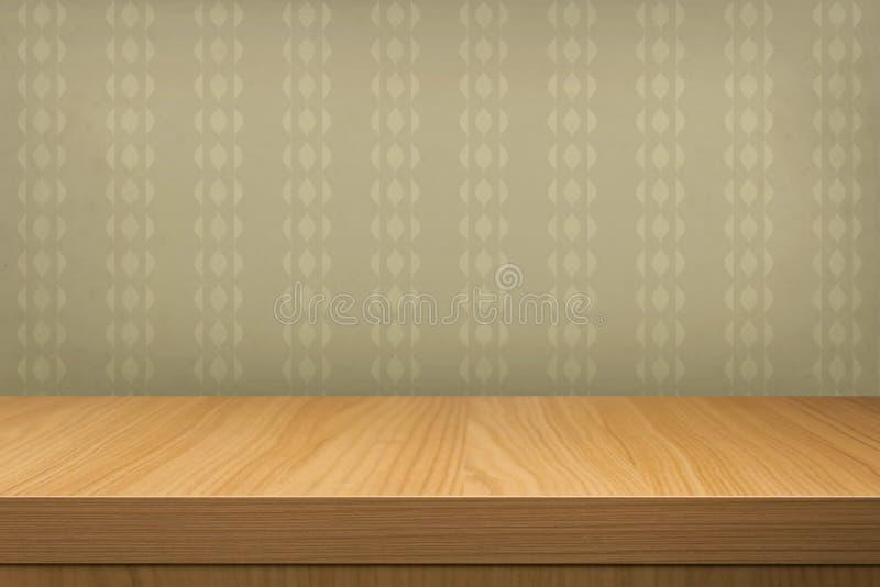 Tabela de madeira vazia sobre o papel de parede do vintage ilustração do vetor