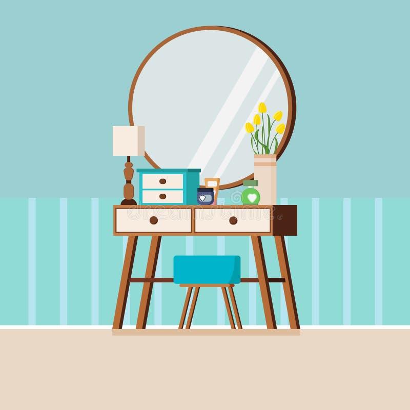 Tabela de molho de madeira da mulher do vintage com espelho, cadeira, lâmpada, vaso, caixa e cosméticos ilustração royalty free
