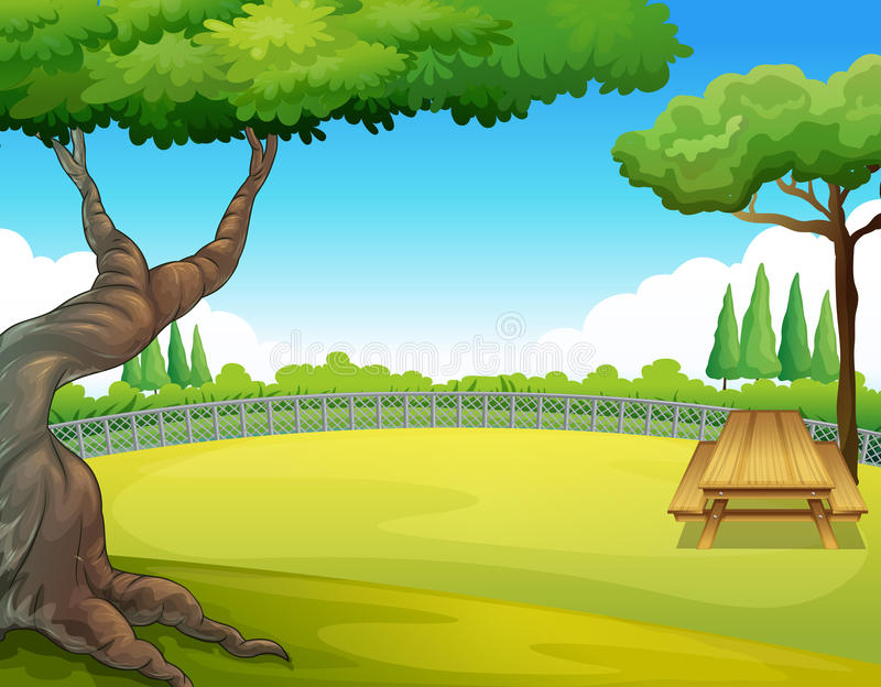 Tabela de piquenique no parque ilustração royalty free