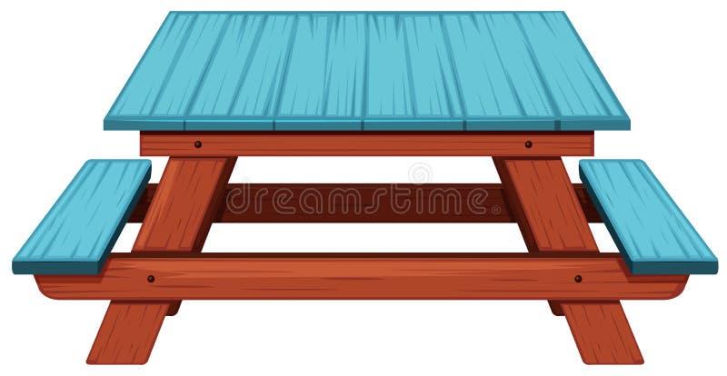 Tabela de piquenique pintada azul ilustração do vetor