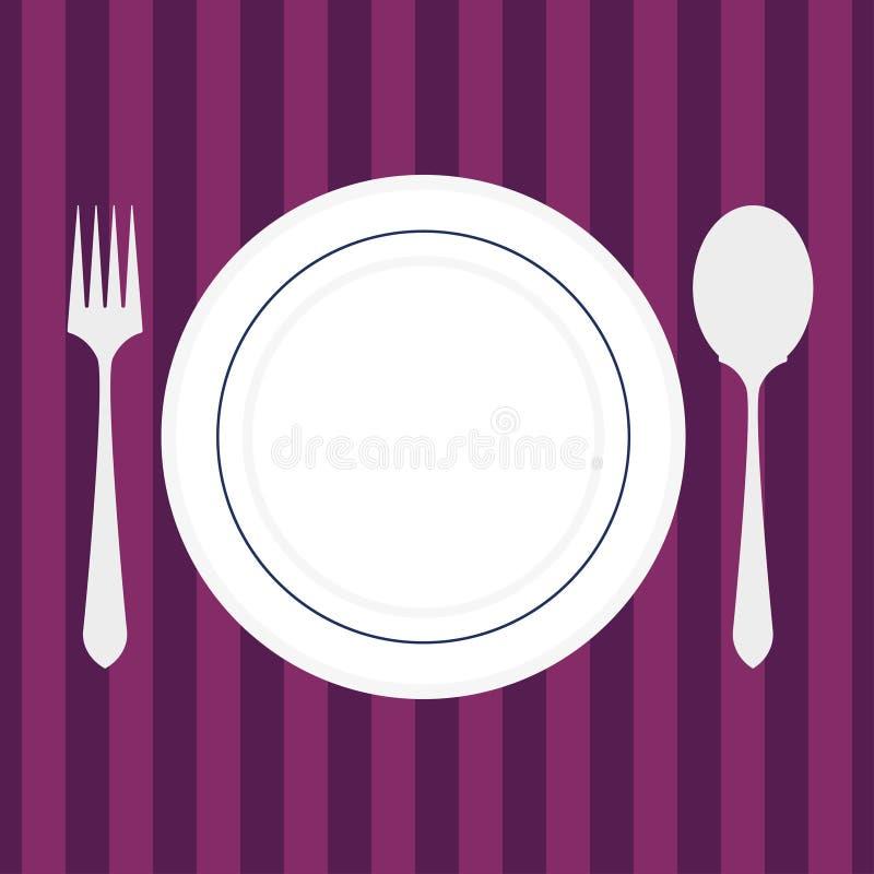 Tabela de Restorant com forquilha, faca e placa Ilustração do vetor Projeto liso ilustração stock