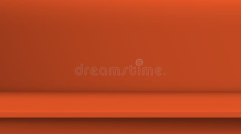 Tabela de vetor da malha do inclina??o O fundo da tabela de cor alaranjada vívida vazia, sala do estúdio anuncia para seus produt ilustração royalty free