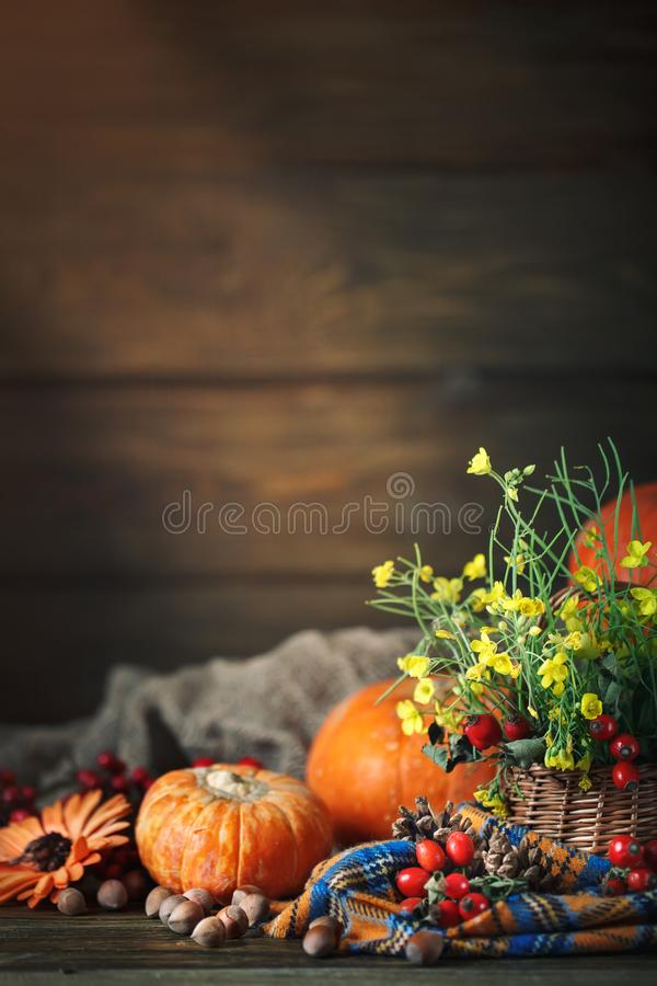 A tabela decorada com flores e vegetais Dia feliz da acção de graças Fundo do outono fotografia de stock royalty free