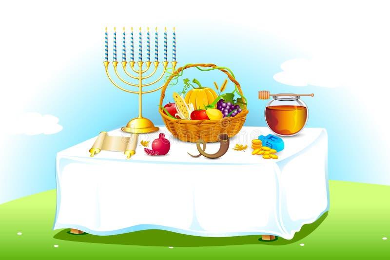 Tabela decorada para Sukkot ilustração stock