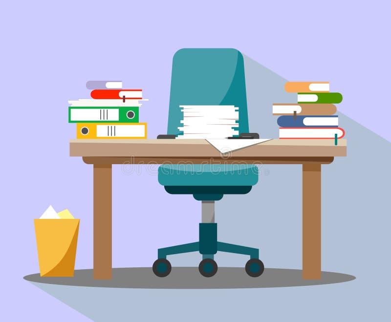 Tabela desordenada ocupada do escritório Interior do escritório com papéis, livros e um original na tabela Projeto liso ilustração stock