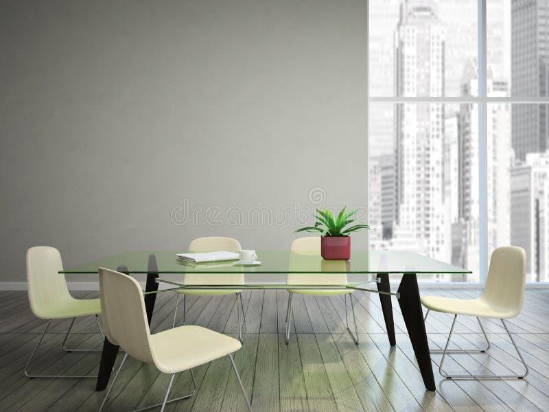 Tabela e cadeiras do desejo da sala de Dinning ilustração do vetor
