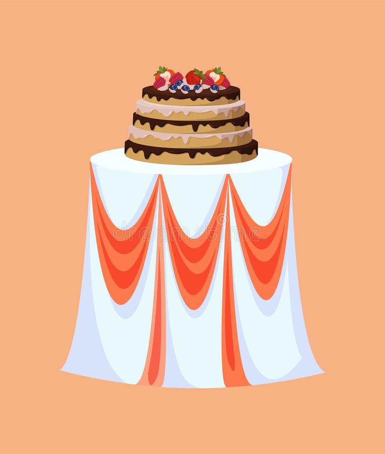 Tabela do restaurante decorada para a celebração do casamento ilustração stock