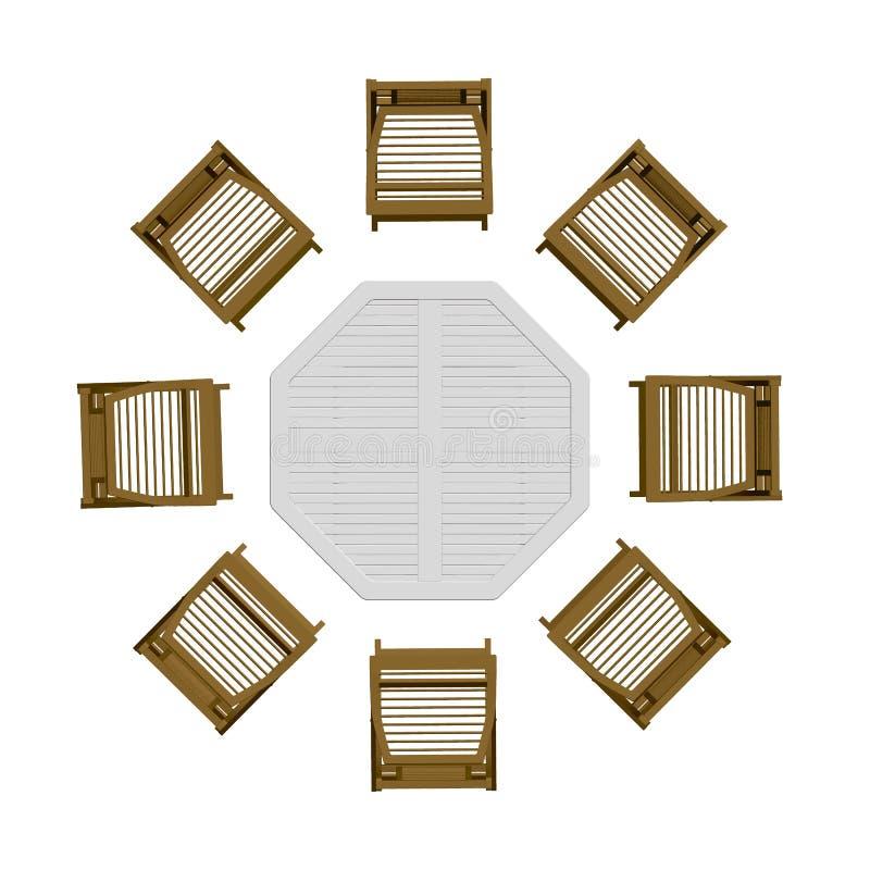 Tabela do verão com cadeiras Vista de acima 3d Ilustra??o do vetor ilustração royalty free