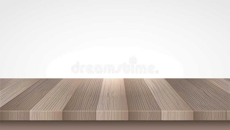 tabela drewna Drewniana półka Odizolowywający na bielu wektor royalty ilustracja