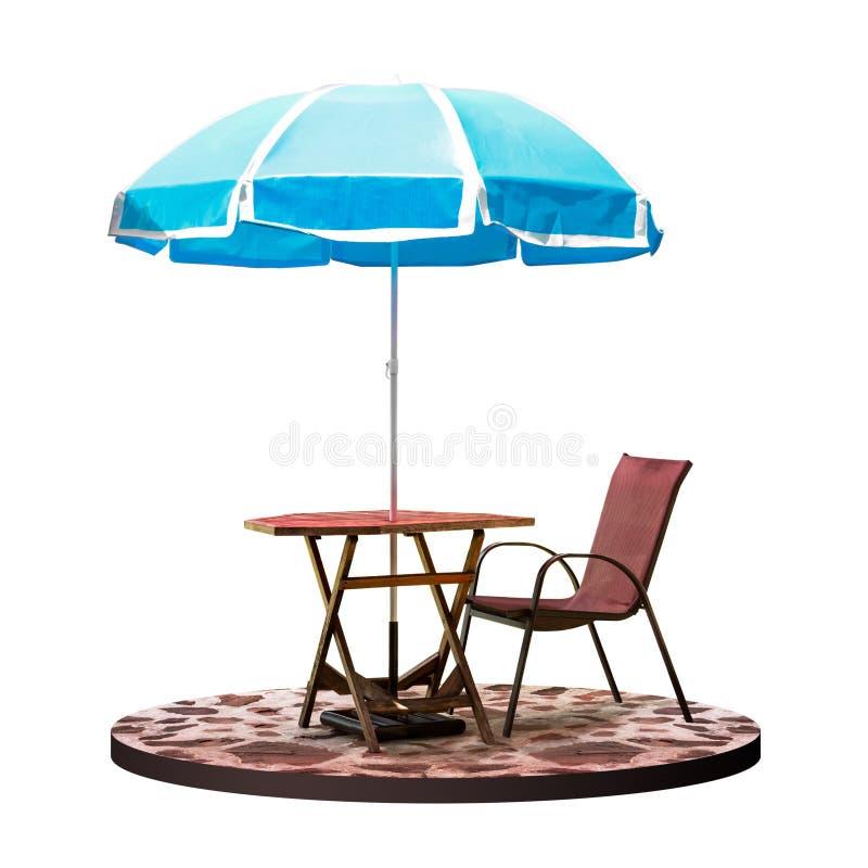 Tabela e cadeira exteriores com o para-sol do parasol do jardim na cafetaria isolada no fundo branco com trajeto de grampeamento foto de stock royalty free