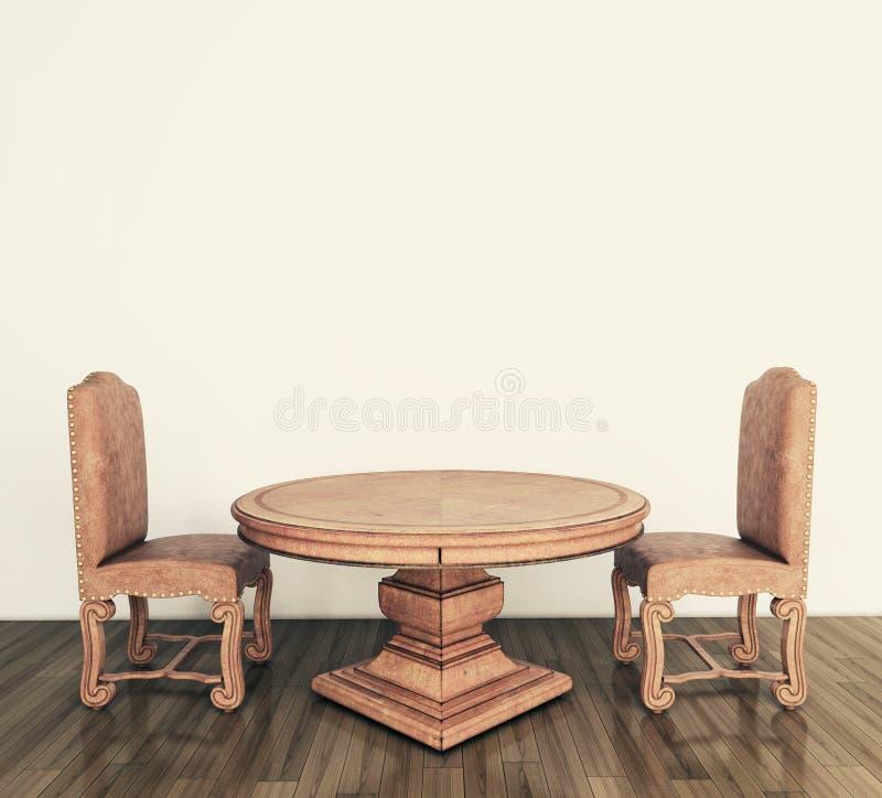 Tabela e cadeiras clássicas interiores ilustração royalty free