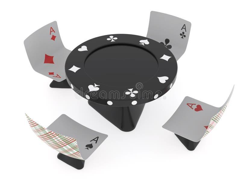Tabela e cadeiras Conventionalized para o casino ilustração do vetor
