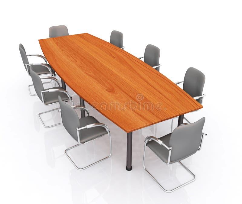 Tabela e cadeiras de conferência ilustração do vetor