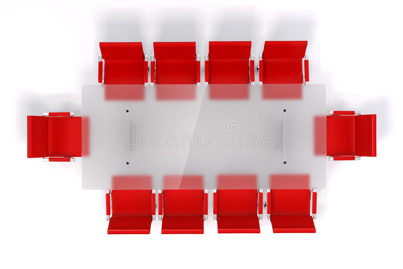 tabela e cadeiras de conferência 3d ilustração do vetor