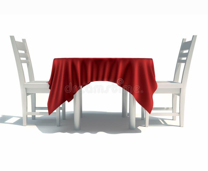 Tabela e cadeiras de jantar ilustração stock