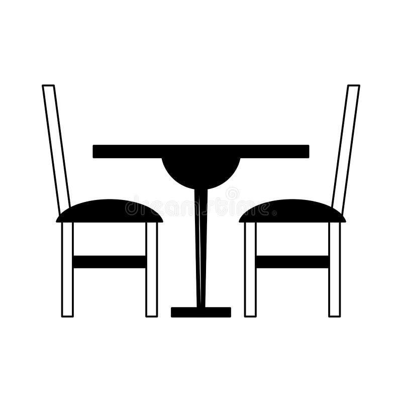 Tabela e cadeiras de madeira de Dinning em preto e branco ilustração do vetor