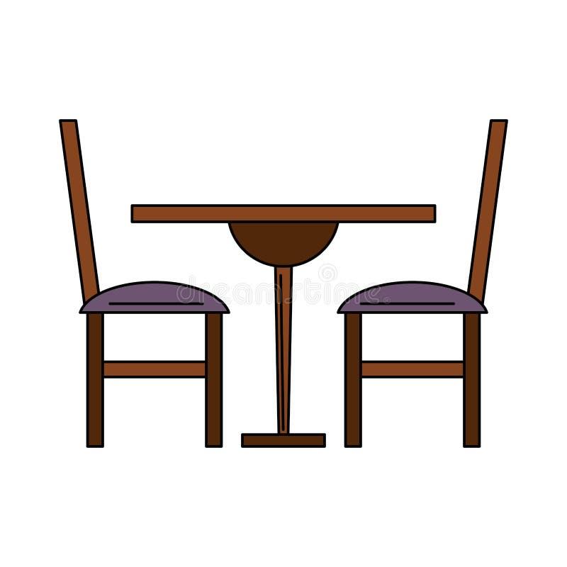 Tabela e cadeiras de madeira de Dinning ilustração stock