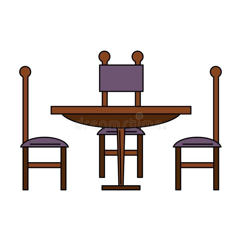 Tabela e cadeiras de madeira de Dinning ilustração royalty free
