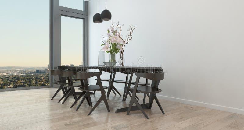 Tabela e cadeiras modernas na sala de jantar escassa ilustração royalty free