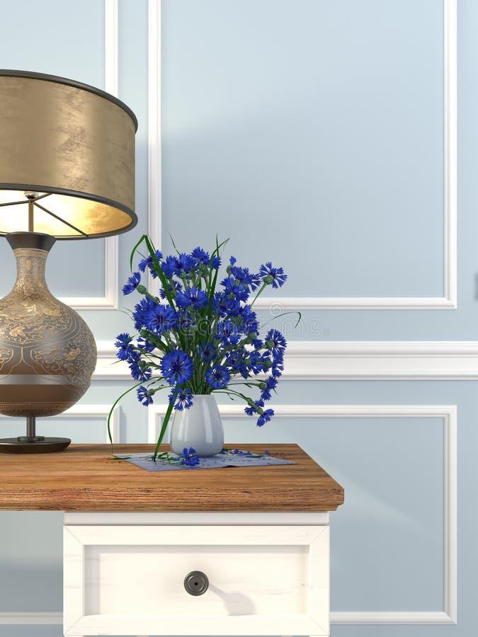 Tabela e candeeiro de mesa do vintage em um fundo da parede azul foto de stock royalty free