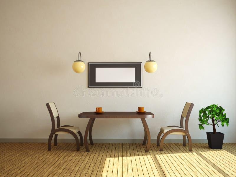 Tabela e duas cadeiras ilustração do vetor