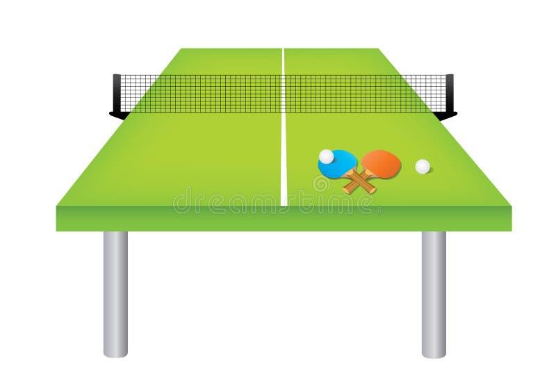 Tabela e equipamento do tênis de mesa ilustração royalty free