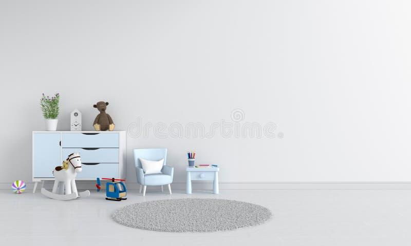 Tabela e sofá no interior branco da sala de criança, rendição 3D ilustração stock
