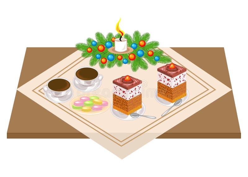 Tabela festiva Bolo e ch? deliciosos, coffe Um ramalhete do Natal de uma ?rvore de Natal e de uma vela d? um humor rom?ntico Veto ilustração do vetor