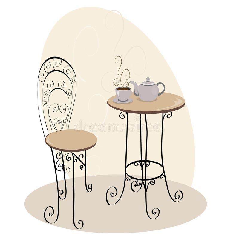 Tabela francesa do café ilustração stock