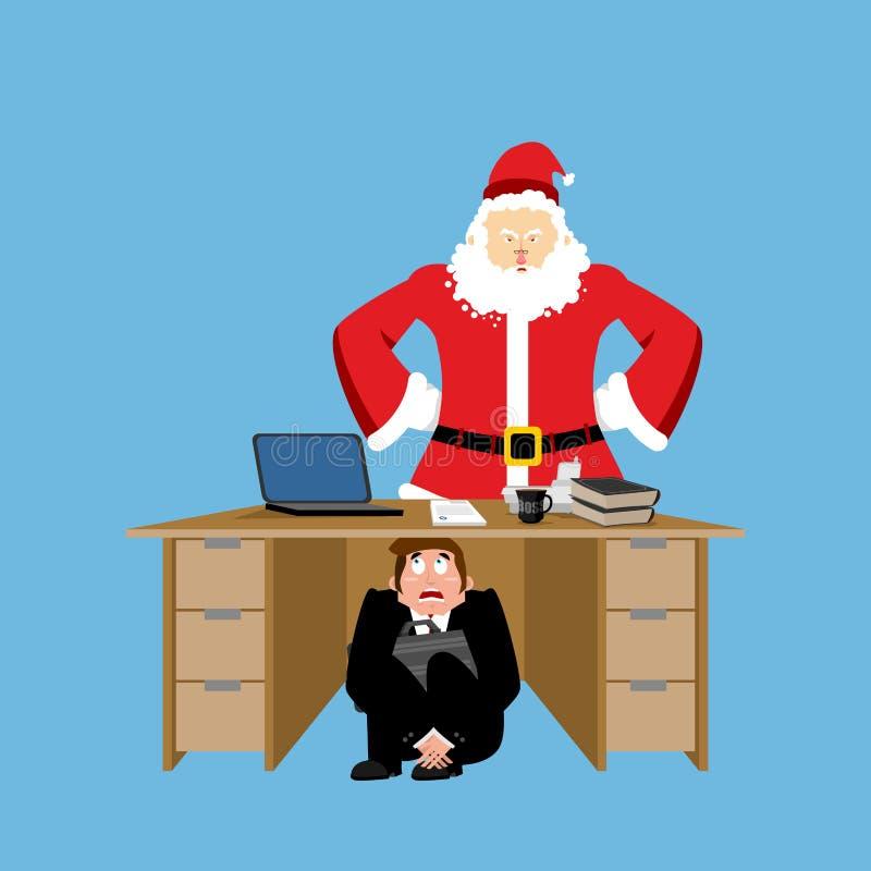Tabela inferior assustado do homem de negócios de Santa Claus irritada frightened ilustração royalty free