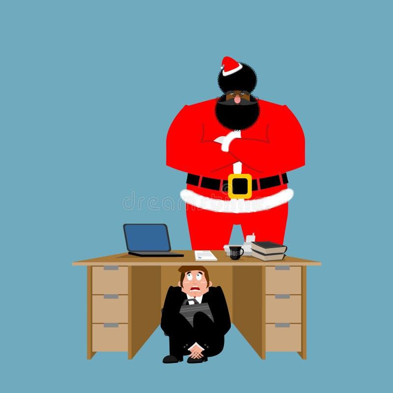 Tabela inferior assustado do homem de negócios de Santa Claus irritada frightened ilustração do vetor