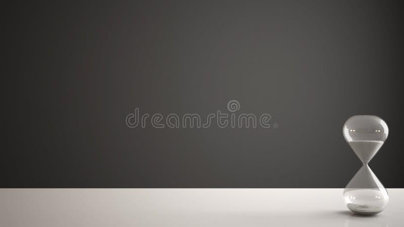Tabela, mesa ou prateleira branca com a ampulheta moderna de cristal que mede o tempo de passagem em uma contagem regressiva a um imagem de stock royalty free