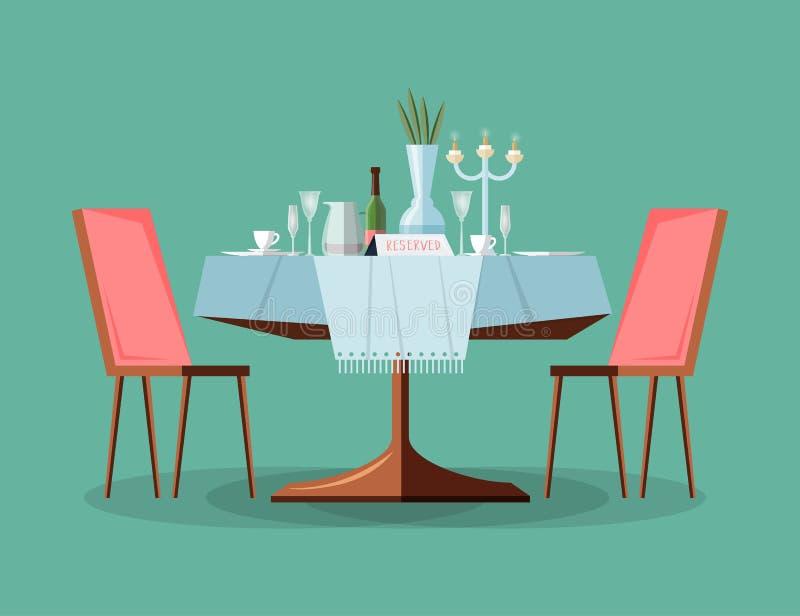 Tabela moderna reservado do restaurante com toalha de mesa, velas no castiçal, planta, copos de vinho, sinal do tabletop da reser ilustração royalty free