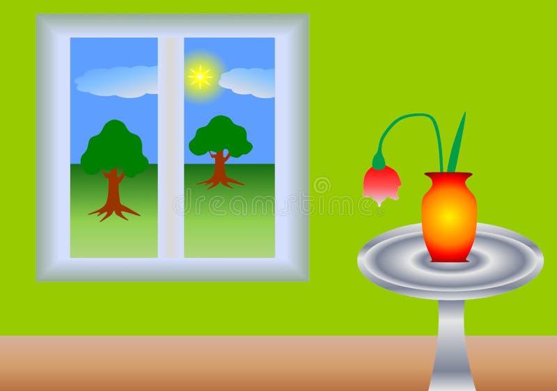 Tabela na janela ilustração royalty free