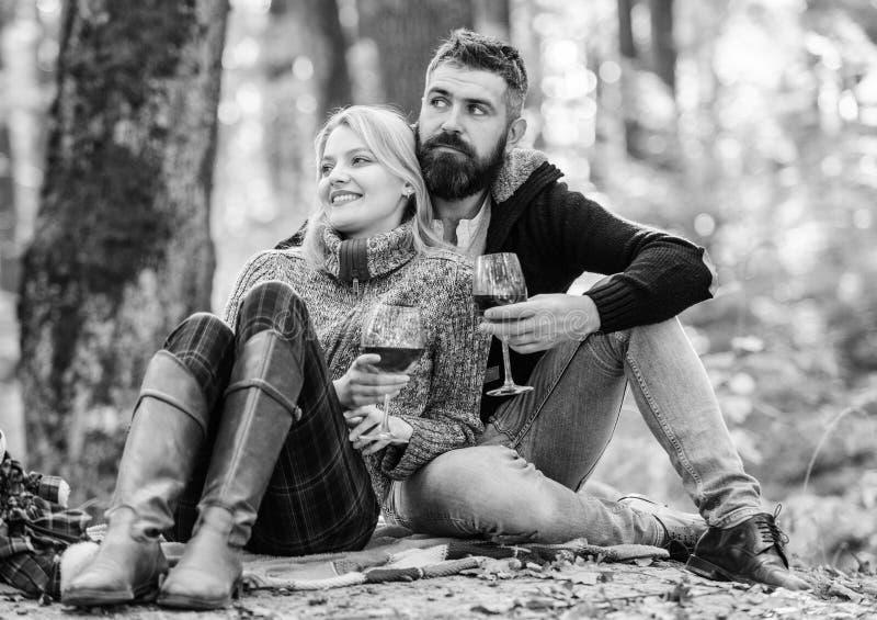Tabela para dois Os pares no amor relaxam no piquenique da fam?lia da floresta do outono Rosa vermelha cheers Vinho tinto no temp fotos de stock