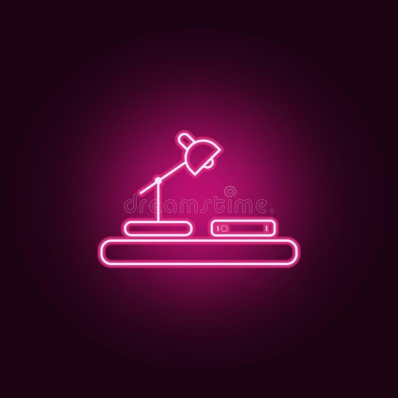 tabela para ler o ícone Elementos dos livros e dos compartimentos nos ícones de néon do estilo Ícone simples para Web site, desig ilustração royalty free