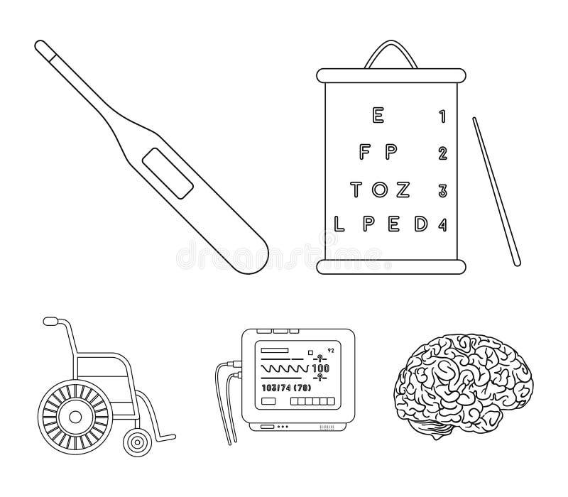 Tabela para verificar a visão, termômetro eletrônico, dispositivo de ECG Ícones ajustados da coleção da medicina no vetor do esti ilustração stock