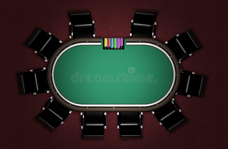 Tabela realística do pôquer ilustração do vetor
