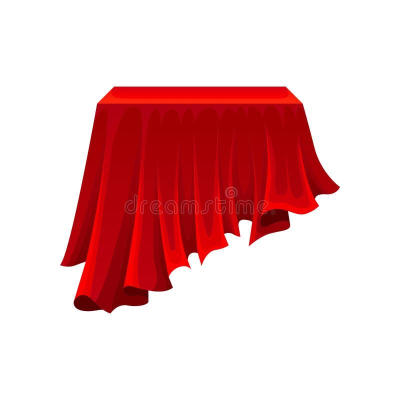 Tabela retangular sob o pano de seda vermelho no fundo branco ilustração stock