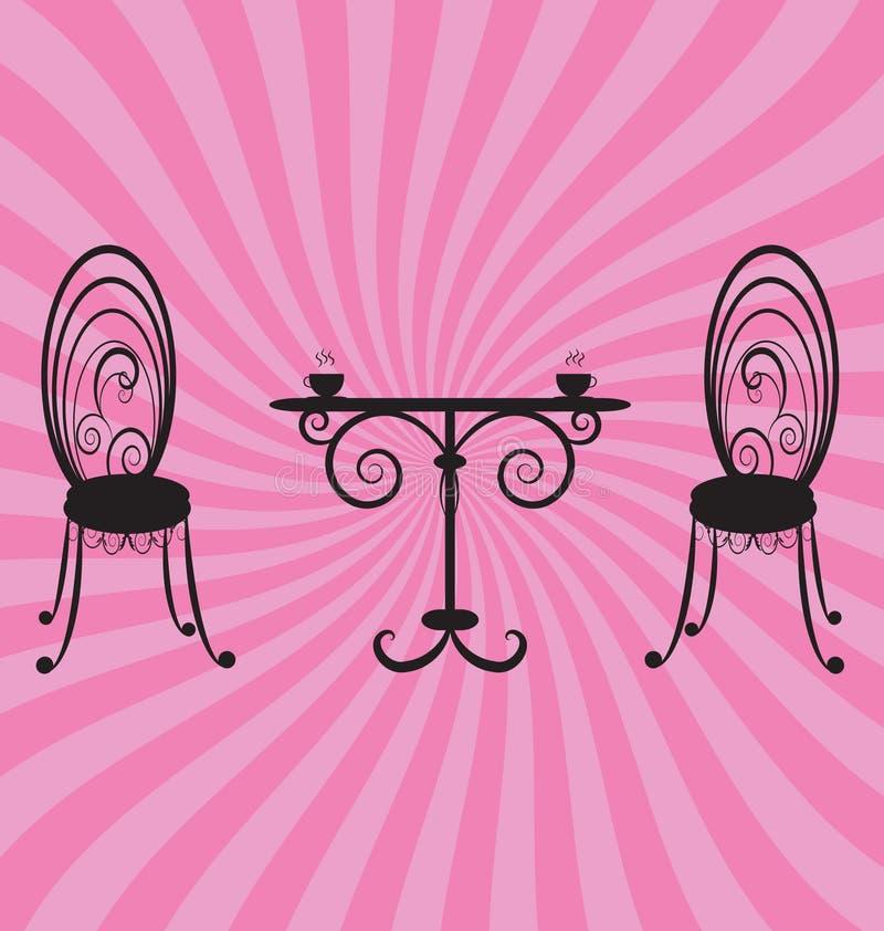Tabela retro e cadeiras ilustração royalty free