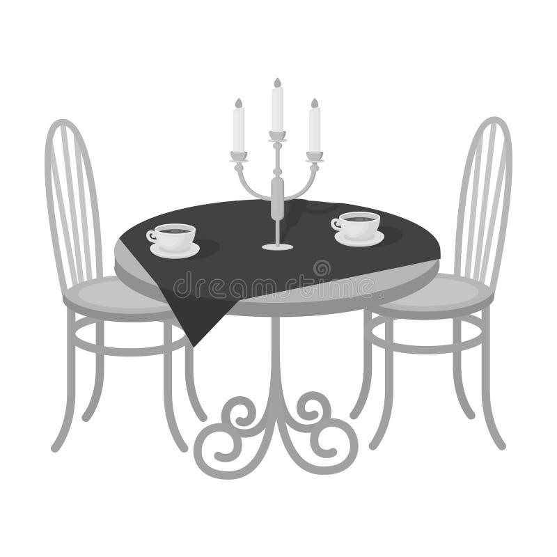 Tabela serida no restaurante Único ícone da mobília na Web isométrica da ilustração do estoque do símbolo do vetor do estilo mono ilustração royalty free
