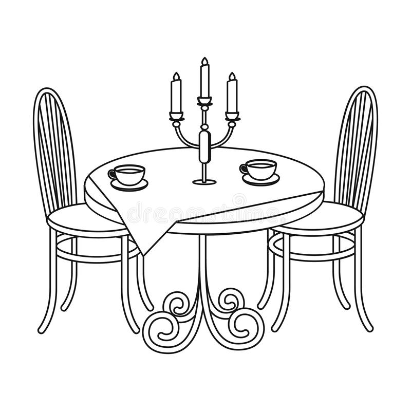 Tabela serida no restaurante Mobília na Web isométrica da ilustração do estoque do símbolo do vetor ilustração stock