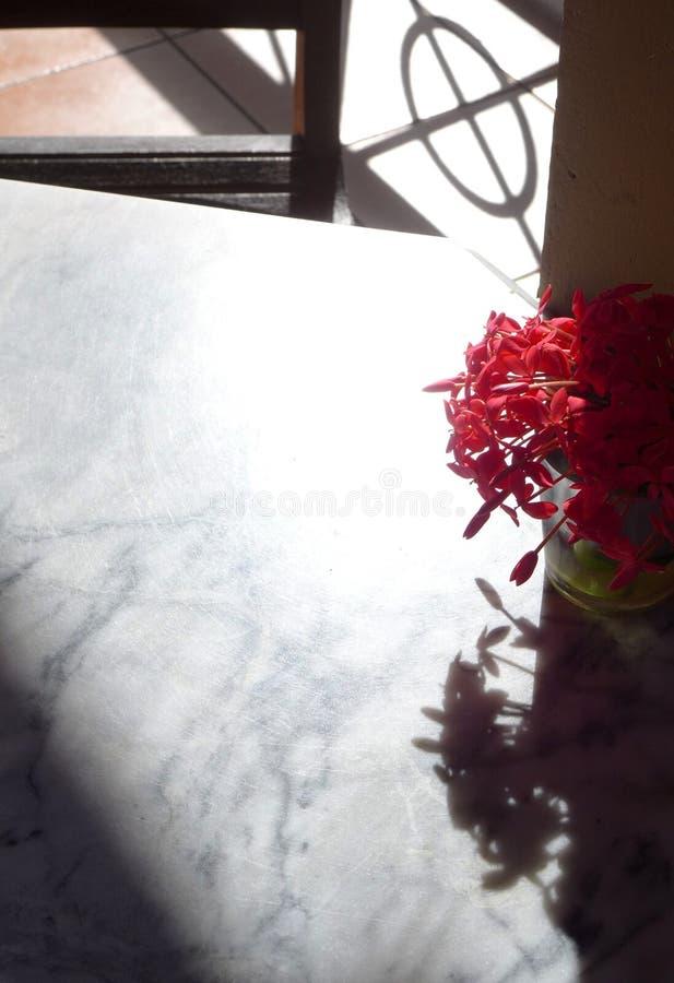 Tabela superior de mármore branca antiga com o vaso das flores imagem de stock