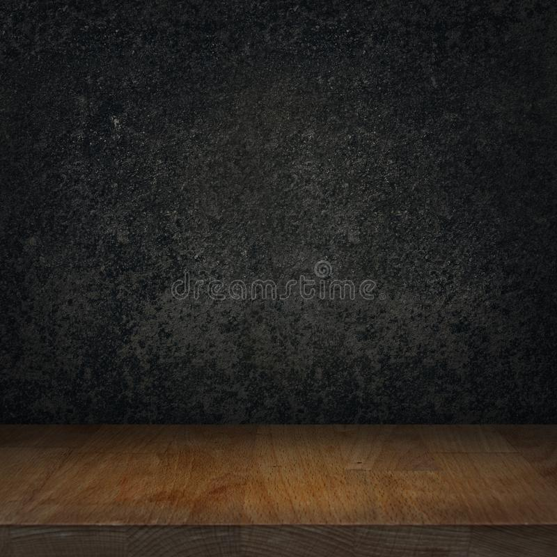 Tabela superior de madeira vazia e fundo de pedra preto da cozinha da grafite ilustração royalty free