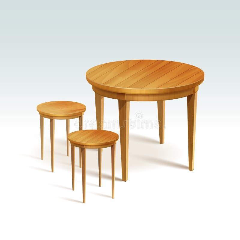 Tabela vazia da madeira redonda do vetor com duas cadeiras ilustração stock