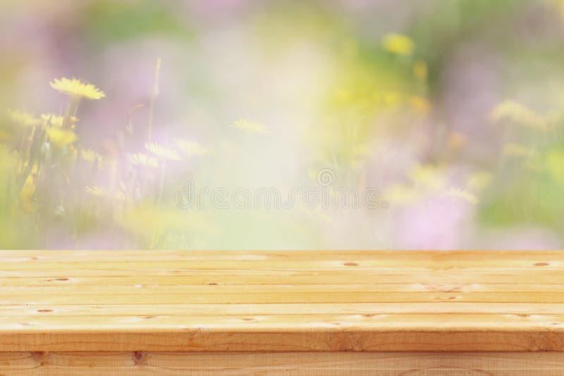 A tabela vazia na frente da mola floresce o fundo imagem de stock