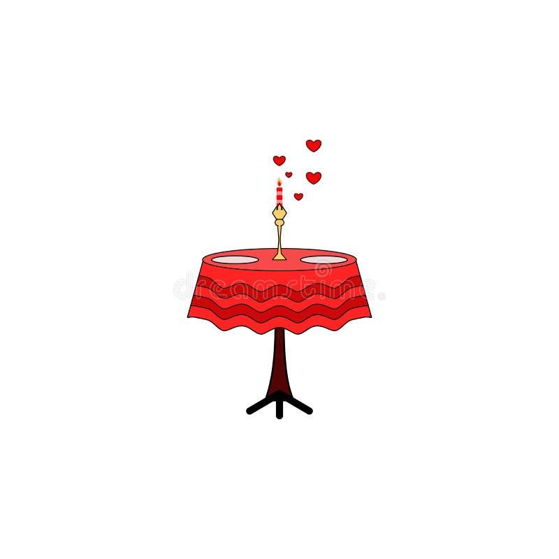 A tabela, vela, dois, reservou, ícone do dia dos valentine's Elemento do Valentim da cor \ 'do dia de s Ícone superior do proje ilustração do vetor