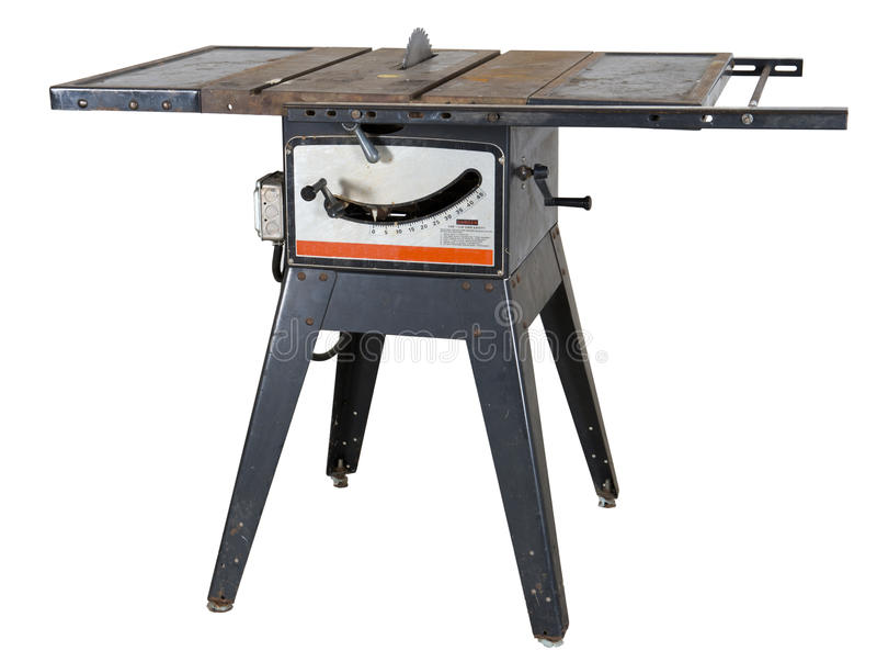 A tabela velha do Woodworking viu isolado fotografia de stock